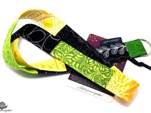 Band für Schlüssel Patchwork Schlüsselband Farbe schwarz grün