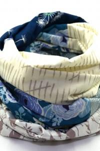 Damen Loop Schal beige blau
