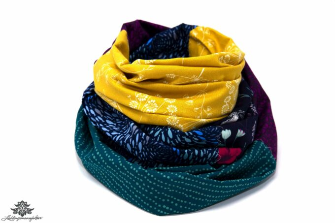 Damen Loop Schal gelb blau grün