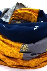 Damen Loop Schal gelb grau