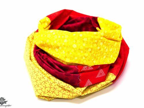 Damen Loop Schal gelb rot