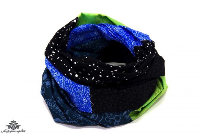 Damen Loop Schal grün blau schwarz