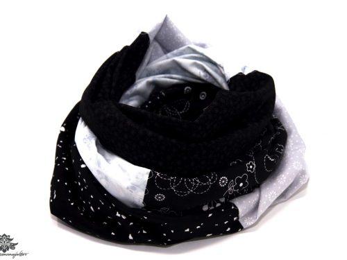 Damen Loop Schal hellgrau schwarz