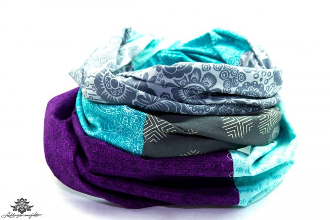 Damen Loop Schal lila grau