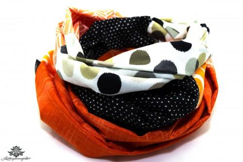Damen Loop Schal orange schwarz weiss
