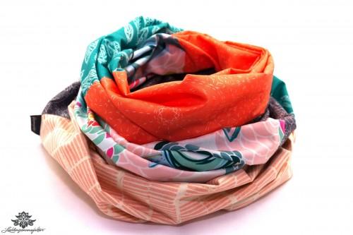 Damen Loop Schal orange türkis grau