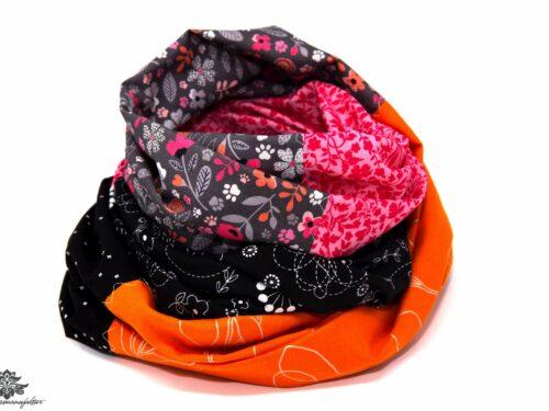 Damen Loop Schal orange grau