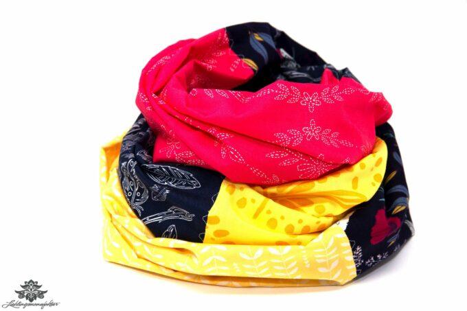 Damen Loop Schal pink blau gelb