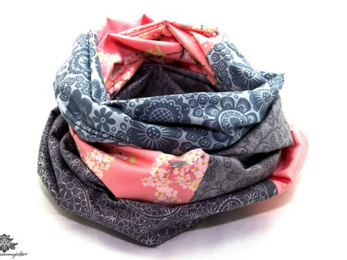 Damen Loop Schal rosa grau
