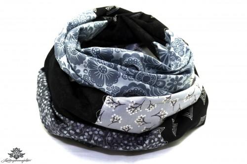 Damen Loop Schal schwarz grau