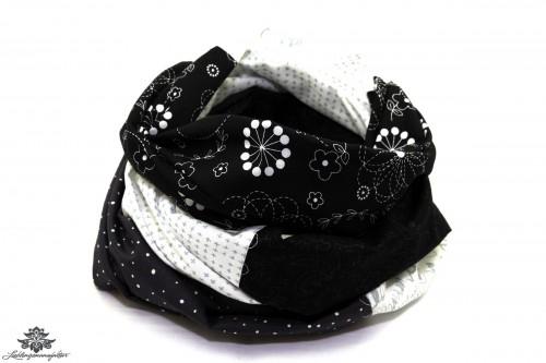 Damen Loop Schal schwarz weiss