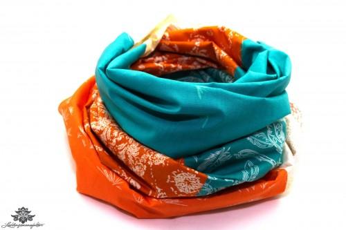 Damen Loop Schal türkis orange