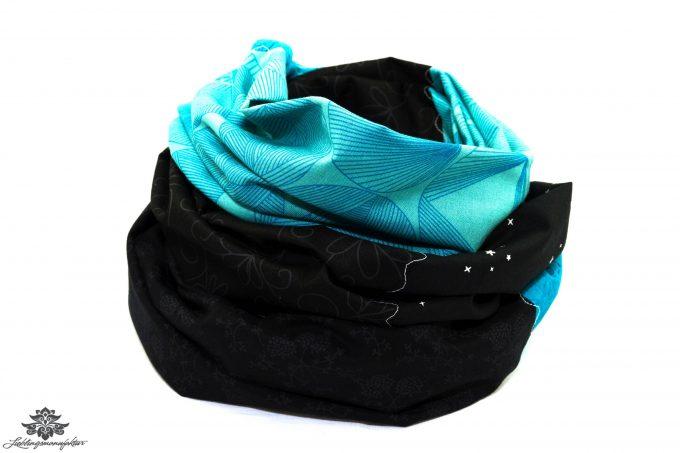 Damen Loop Schal türkis schwarz