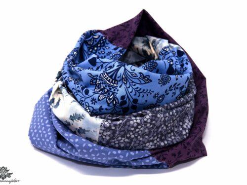 Damen Loop Schal weiss blau grau