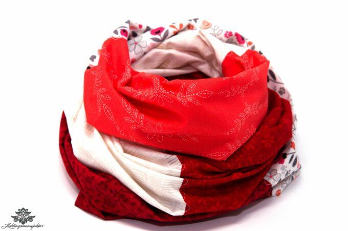 Damen Loop Schal weiss rot