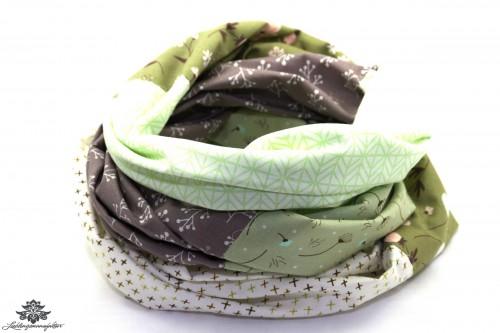 Damen Schals grün beige weiss