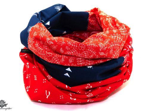 Designer Loop Schal blau rot