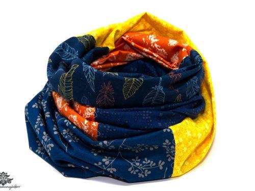 Designer Loop Schal gelb blau