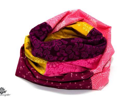 Designer Loop Schal gelb pink