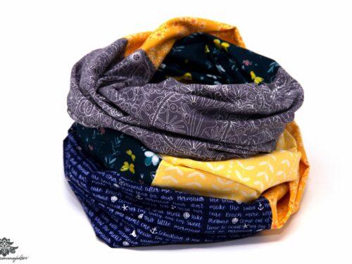 Designer Loop Schals grau blau