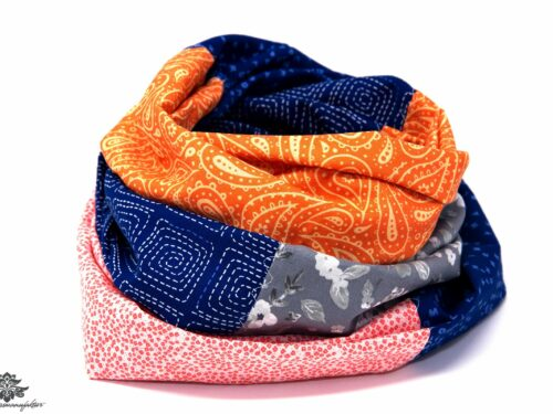 Designer Loop Schals orange marineblau