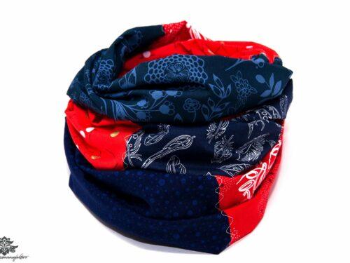 Designer Loop Schals rot marineblau
