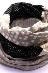 Designer Loop Schals schwarz grau