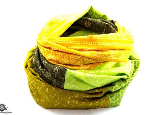 Kleidung aufpeppen Farbe Loop Schal grün braun gelb
