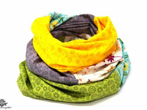 Kleidung aufpeppen Farbe Loop Schal grün grau gelb