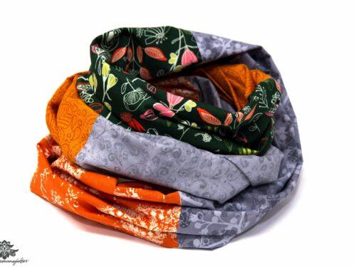 Kleidung aufpeppen Farbe Loop Schal grün grau orange