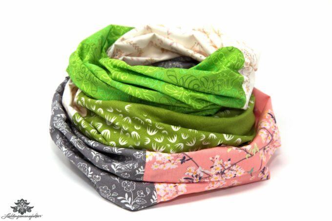 Kleidung aufpeppen Farbe Loop Schal grün grau rosa