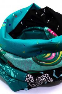 Kleidung aufpeppen Farbe Loop Schal petrol schwarz