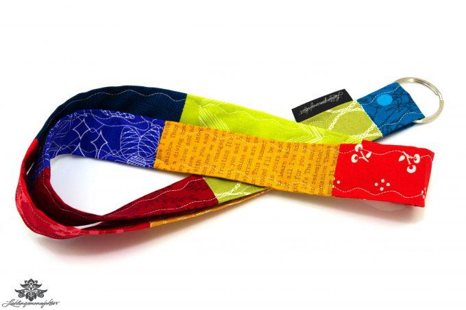 Lieblingsfarbe bunt Buntes Patchwork Schlüsselband