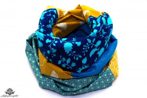 Loop Schal Sommer gelb dunkelblau