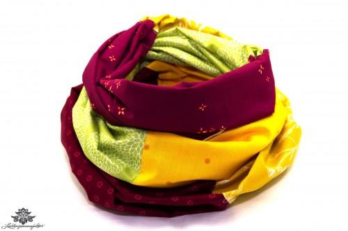 Loop Schal Sommer gelb grün pink