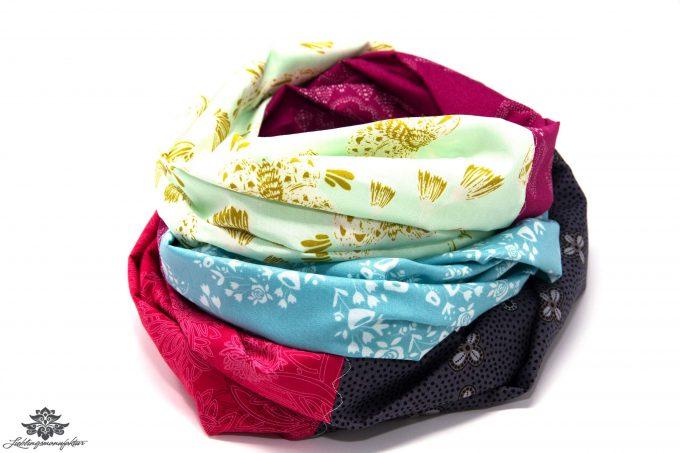 Loop Schal Tuch blau pink grau
