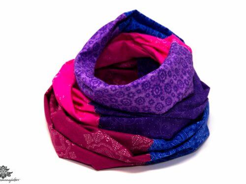 Loop Schal Tuch blau pink lila