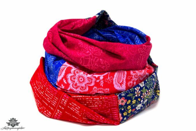 Loop Schal Tuch blau pink rot