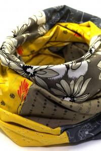 Loop Schal Tuch gelb beige grau