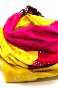 Loop Schal Tuch gelb pink rot