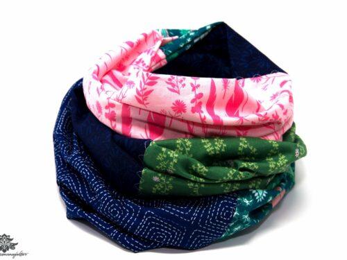 Loop Schal bunt blau rosa grün