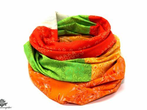 Loop Schal orange grün