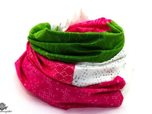 Loop Schal pink grün weiss