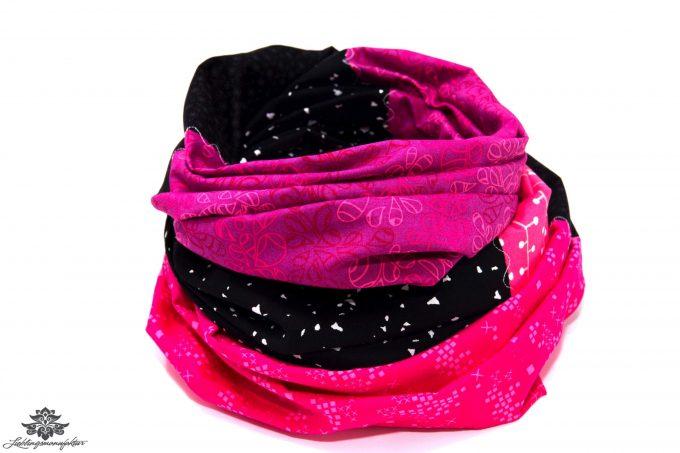 Loop Schal pink schwarz
