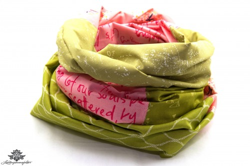 Loop Schal rosa grün