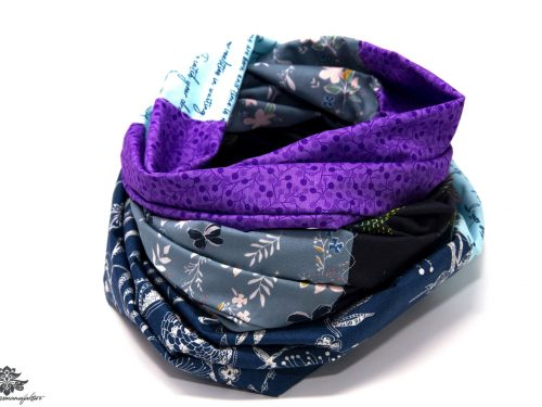 Patchwork Schal lila blau