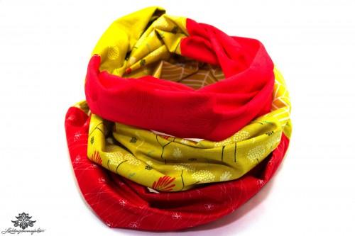Patchwork Schal rot gelb