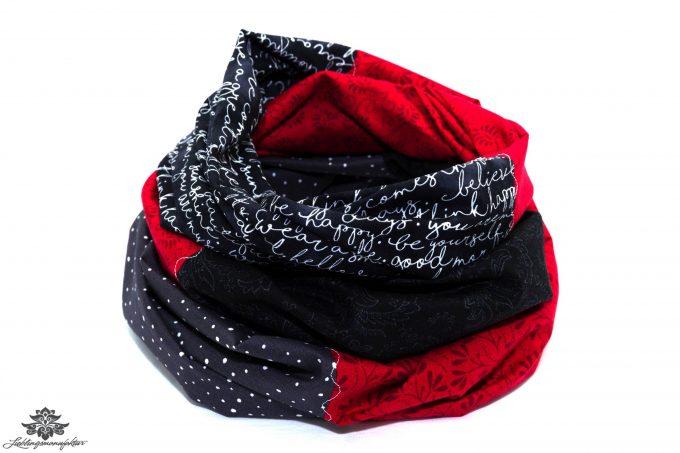 Patchwork Schal rot schwarz