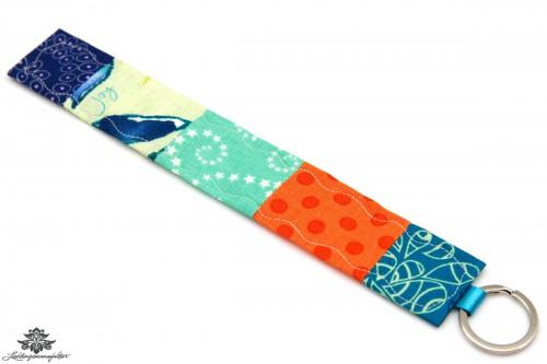 Patchwork Schlüsselanhänger orange blau