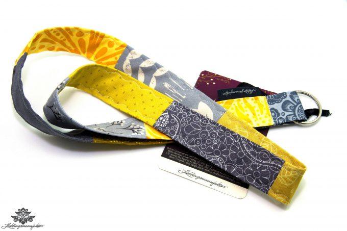 Patchwork Schlüsselband Farbe gelb grau